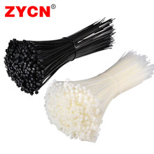 ZYCN 100Pcs Nylon  Cable Tie Self Locking Width 7.5mm Color Black White