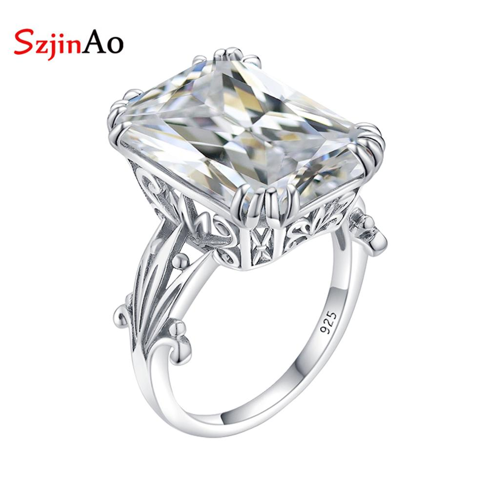 Szjinao Real 925 Sterling Silver Diamond Ring For Women Big Gemstones Designer Rings Rectangle Handmade Vintage Fine Jewelry New