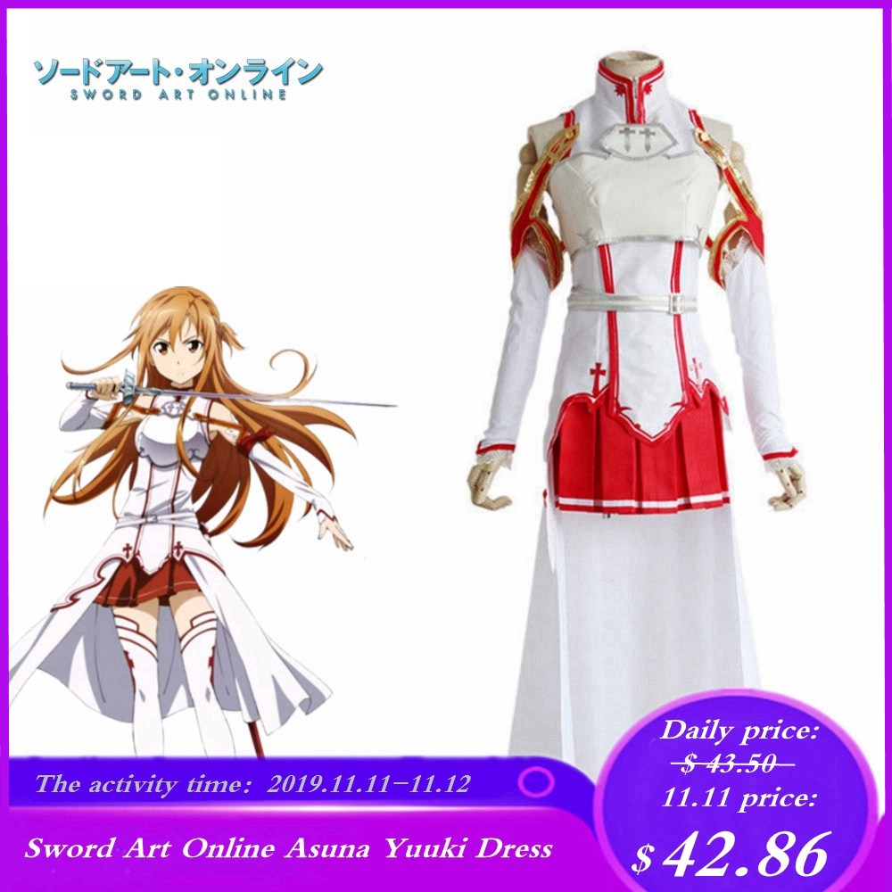 Anime Sword Art Online Asuna Yuuki Cosplay Costume Long Dress Fight Outfit Party