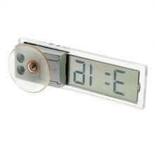 Топ-электронные часы для автомобиля Мини Прочный прозрачный ЖК-дисплей цифровой с присоской