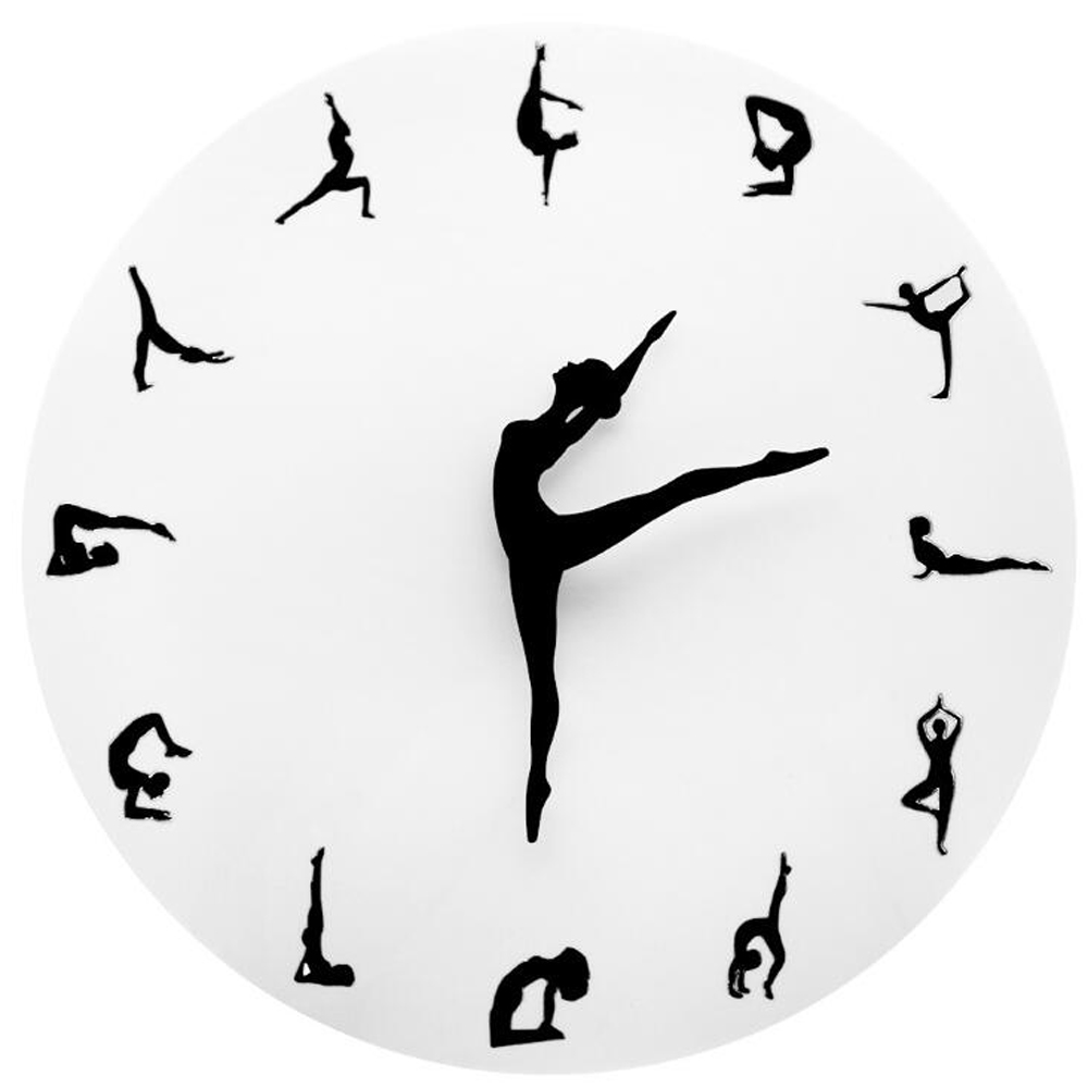 Creative Yoga Postures Wall Clock GYM Fitness Flexible Girl Silent Modern Clock Watch Home Decor Meditation Decor