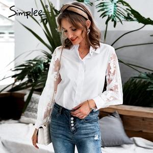 Image 4 - Simplee אלגנטי פרל רשת חולצה חולצה נשים פאף שרוול נקבה לבן למעלה חולצה אביב לבן מזדמן מסיבת ללבוש גבירותיי עבודה חולצות