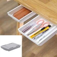 Boîte de rangement, organisateur de cuisine, bureau, articles divers, papeterie, chambre à coucher, étui adhésif sous le tiroir de bureau, boîte de rangement cachée