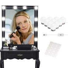 Макияж зеркало тщеславие Светодиодный лампочки комплект usb зарядный порт косметический освещенный макияж зеркала лампы регулируемые яркие фонари