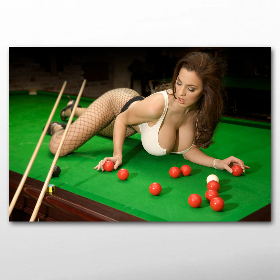 Decorative paintings Hot sexy girl billiard Sport  Wall Art Posters Canvas Prints Artwork For Living Room Decor 1