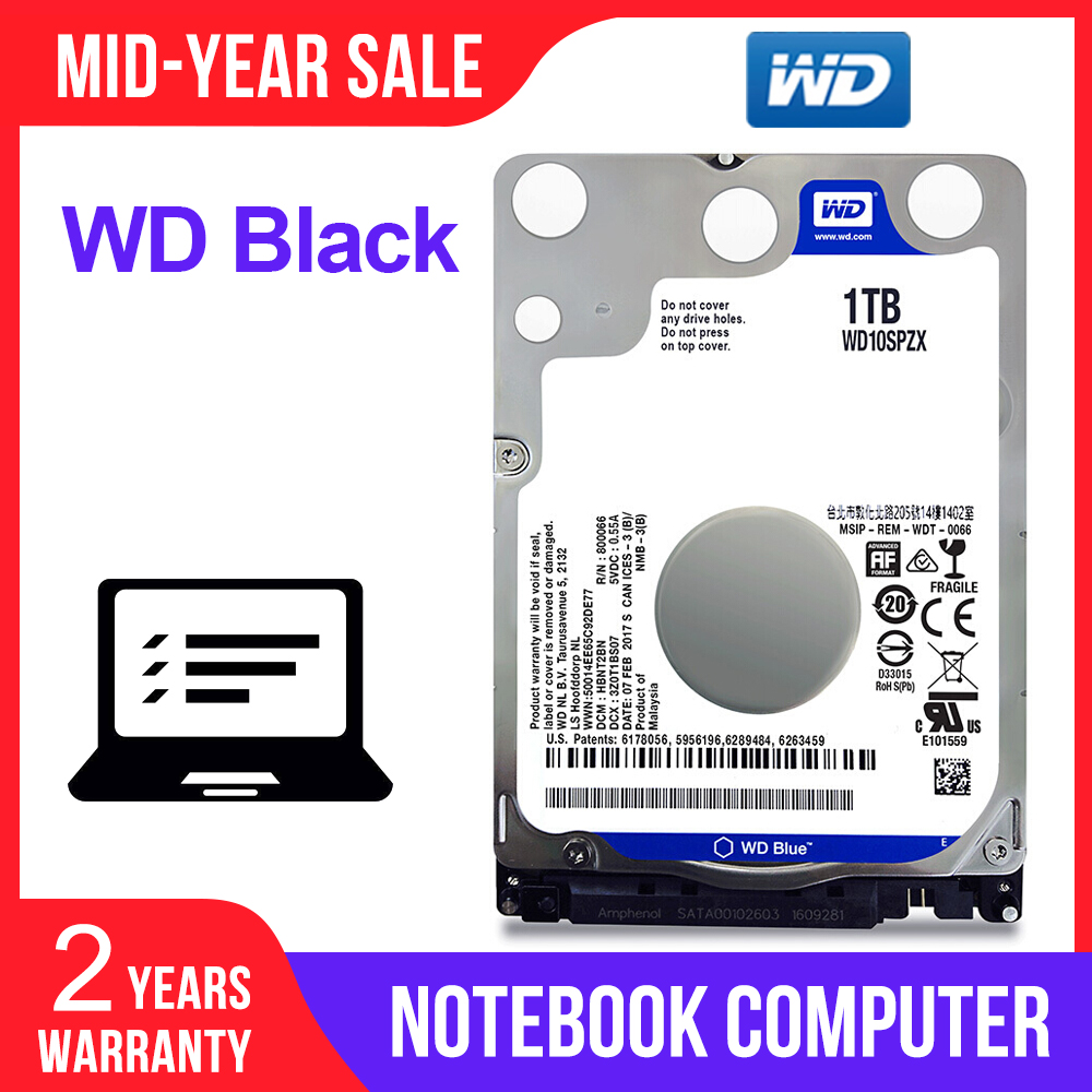 Western Digital  WD Blue 1TB 2.5 Inch Notebook HDD Mobile Hard Disk Drive 5400 RPM SATA 6Gb/s 128MB Cache for laptop WD10SPZX-in Internal Hard Drives from Computer & Office    1