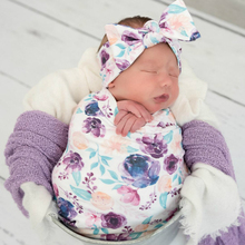 Blanket Cap and Headband Set Baby Floral Print Swaddle Blanket Hat Bowknot Headw