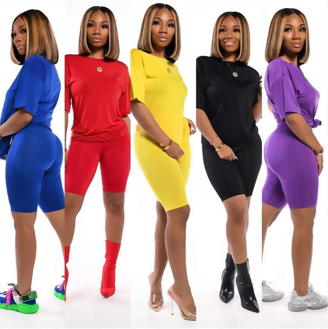 Africa Women Sets Summer Tracksuits Short Sleeve Top Shorts Suit Two Piece Set Sportswear Night Club Party Slim Outfits