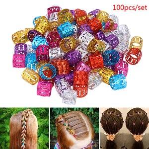 100Pcs Hair Beads For Kids Box Braids Hair Accessories Dreadlock Cuffs Silver Golden Hair Clips Adjustable Hair Extension Beads