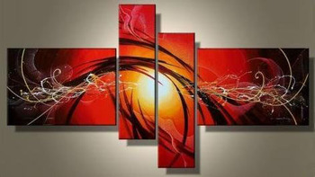 Modern 100% Hand Painted Abstract Canvas Painting 4 Piece Panel Wall Art Living Room Wall Decor Home Decoration