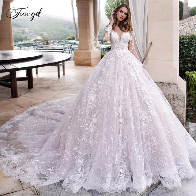 Traugel Scoop A Line Lace Wedding Dresses Elegant Applique Long Sleeve Button Bride Dress Cathedral Train Bridal Gown Plus Size 1