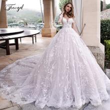 Traugel סקופ קו שמלות כלה אלגנטי Applique ארוך שרוול כפתור הכלה שמלת קתדרלת רכבת כלה שמלה בתוספת גודל