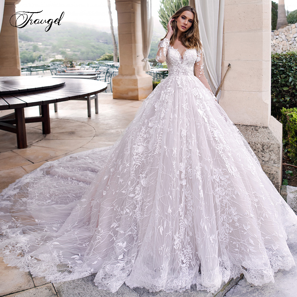 Traugel Scoop A Line Lace Wedding Dresses Elegant Applique Long Sleeve Button Bride Dress Cathedral Train Bridal Gown Plus Size