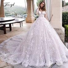 Vestido de novia de manga larga con apliques elegantes de encaje de Traugel Scoop A Line de talla grande