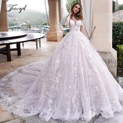 Traugel Scoop EINE Linie Spitze Brautkleider Elegante Applique Lange Hülse Taste Braut Kleid Kathedrale Zug Brautkleid Plus Größe