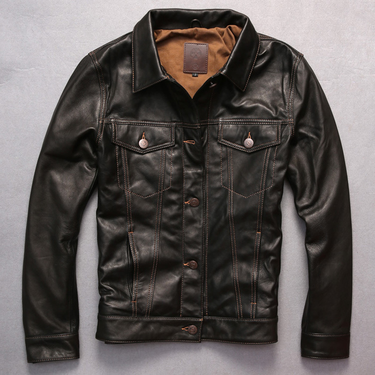 new arrives men's genuine jacket dark brown goatskin coat single breasted leather shirt men Open wire quilting