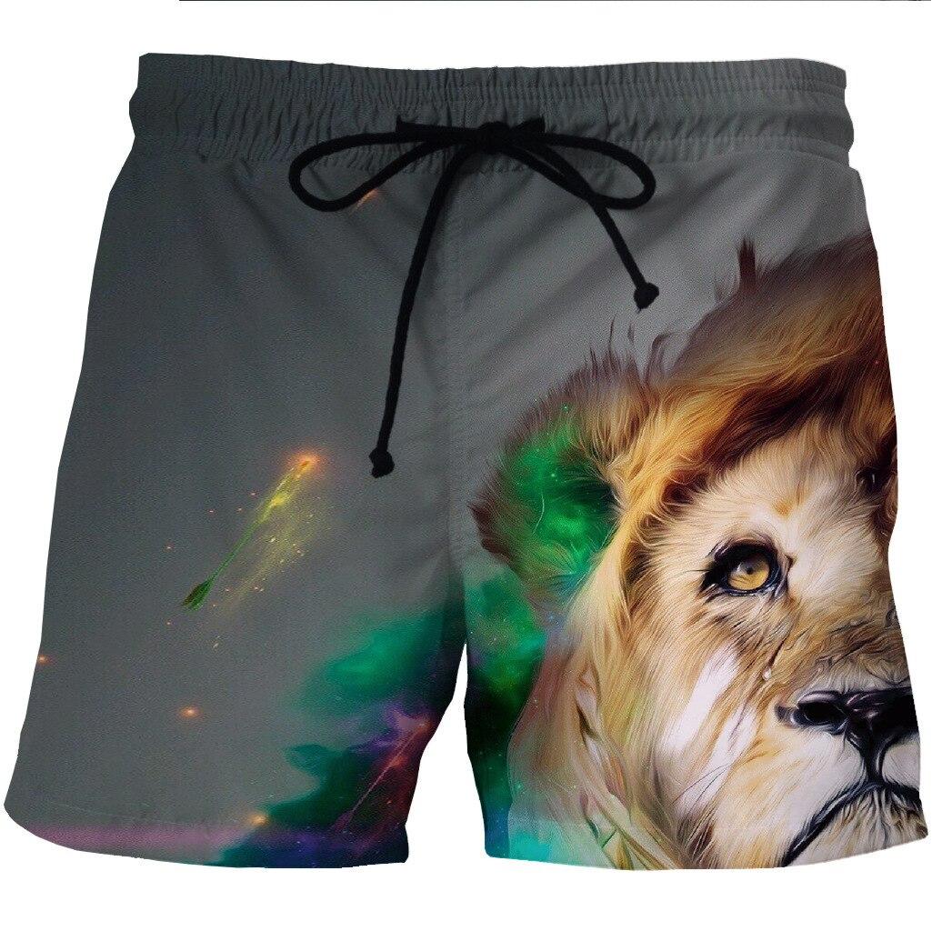Digital Printing Men's Quick Dry Beach Shorts Animal Printed Side Pocket Casual Shorts