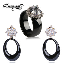 TUHE Women's Luxury Jewelry Set Bling Flower Rhinestone Drop Earrings And Heart Crystal Ceramic Ring For Lady Girl Queen Jewelry(China)
