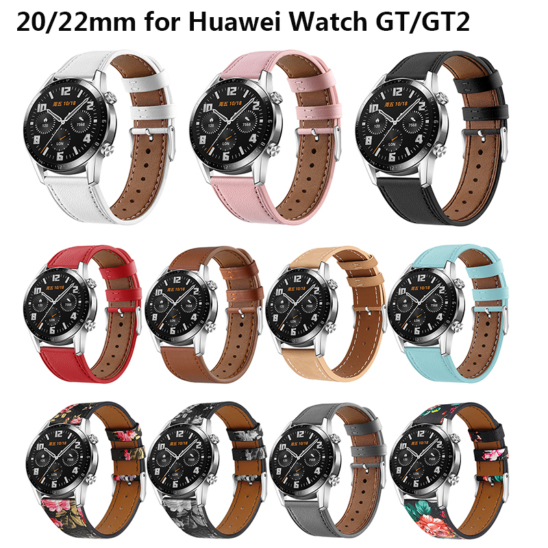 Genuine Leather Band For Huawei Watch GT/GT2 Watchband 20/22mm Wrist Strap Replacement Watch Strap For Huawei Watch GT2 Bracelet