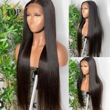 Topnormantic 250% densidade cor natural perucas retas para as mulheres 34 polegada brasileiro remy cabelo humano peruca dianteira do laço preplucked