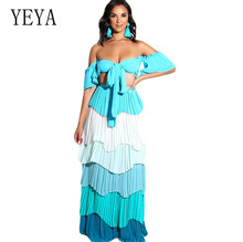 YEYA Off Shoulder Strapless Sexy Top and Multi-color Cake Skirt Two Pieces Sets Hollow Out Elegant Chiffon Loose Summer Dress