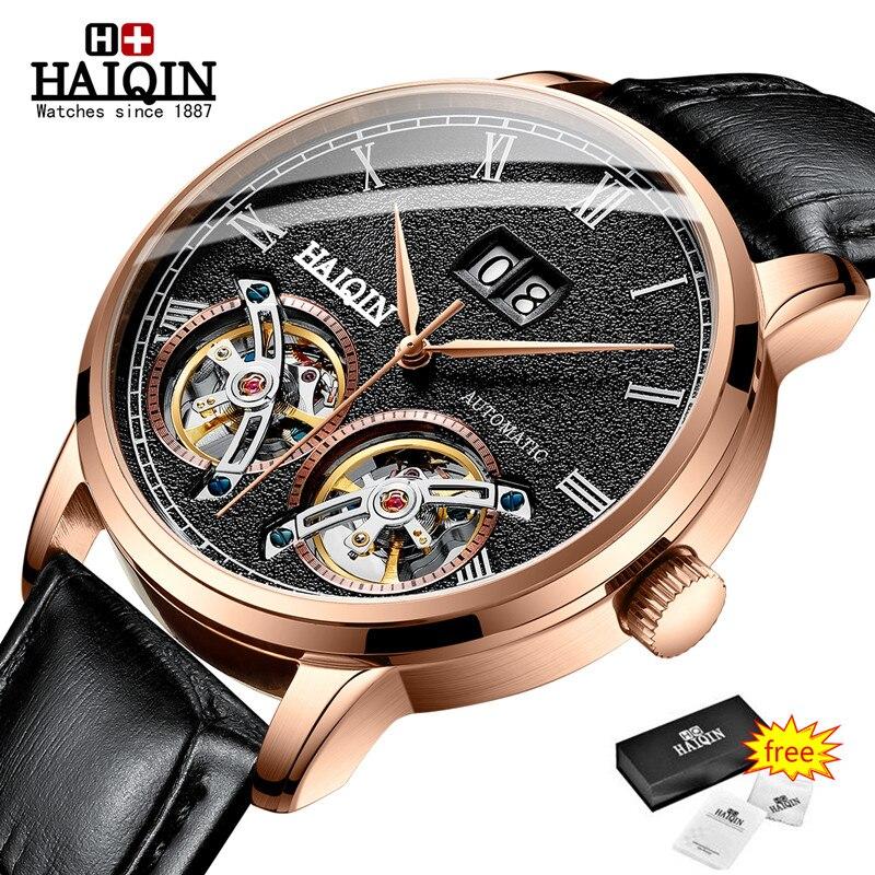 HAIQIN Mens Relógios Top Marca de Luxo Relógio Máquinas Automáticas Homens Double Tourbillon Moda Relógio À Prova D' Água relogio masculino