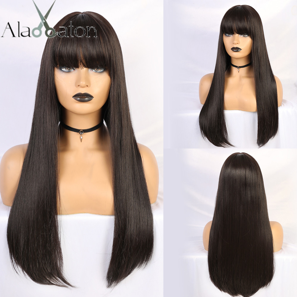 ALAN EATON Black Long Straight Wig With Bangs Synthetic Hair Wigs For Woman Heat Resistant Wigs Natural Cosplay Costume Wig