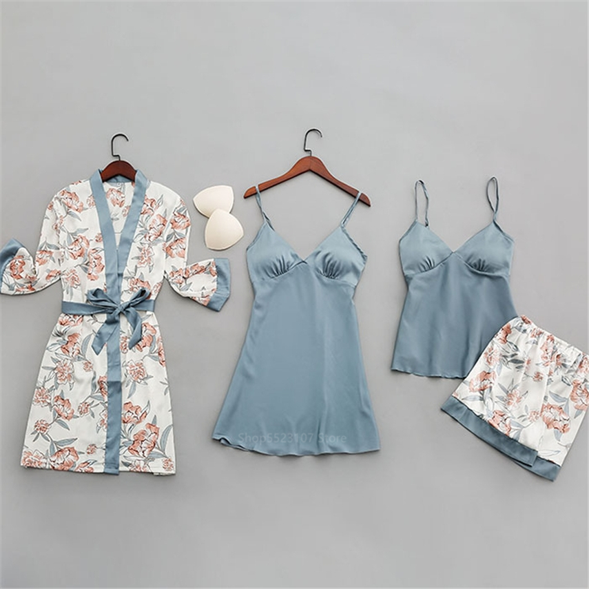 9Style Sexy Lingerie Pyjamas Robe Printing Floral Women Long Sleeve Clothing Nightgowns Pijama with Chest Pads Sets|Pajama Sets|   - AliExpress