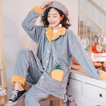 Autumn and Winter New Coral Velvet Ladies Pineapple Pajamas Two-piece Jacquard Lapel Home Clothes Suit Comfortable Warm
