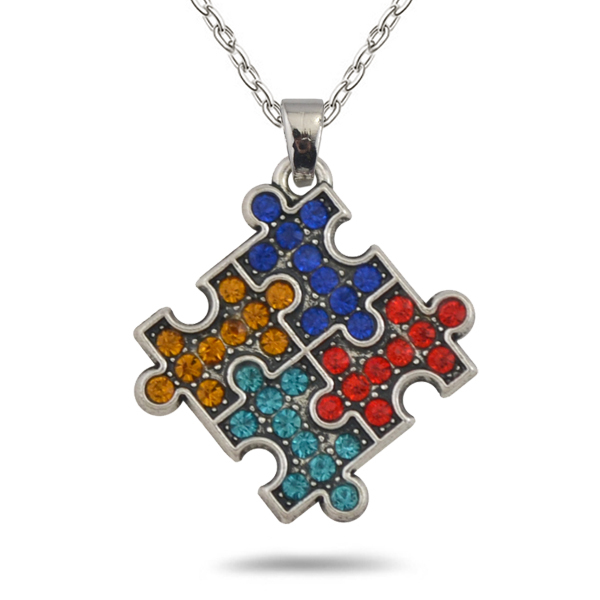 my shape Rhodium Plated Autism Awareness Jigsaw Puzzle Piece Multicolor Crystal Paved Pendant Fashion Necklace Jewelry(China)