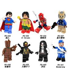 PG8109 8PCS SetBuilding Blocks Super Heroes Spiderman Erik Killmonger Superman El Dorado Lobo Boomer Ang Figures Kids Toys