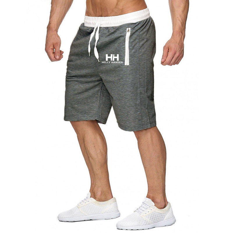 Summer Men's Helly Hansen Printed   Shorts   Casual Mid Waist Beach   Shorts   Solid H Straight Drawstring   Shorts   Four Colors M-3XL