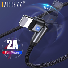 !ACCEZZ 180 Degree Rotate USB Lighting Cable 2A Fast Charging For iPhone 11 Pro XS Max
