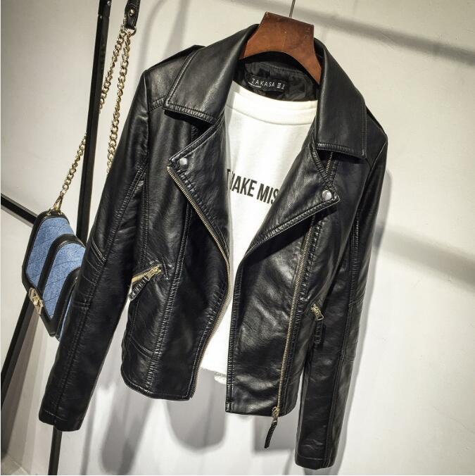 Female 2019 New Design Spring Autumn PU   Leather   Jacket Faux Soft   Leather   Coat Slim Black Motorcycle Jaqueta De Courro Feminina
