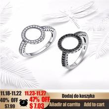 WOSTU 2019 sıcak satış gerçek 925 ayar gümüş yuvarlak yüzükler şanslı daire parmak yüzük kadınlar için moda düğün takısı FIR041