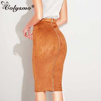 Colysmo Autumn Suede Midi Skirt High Waist Faux Leather Skirt Winter Skirts Womens Two-way Zipper Through Pencil Skirt Saia Midi - DISCOUNT ITEM  30% OFF All Category
