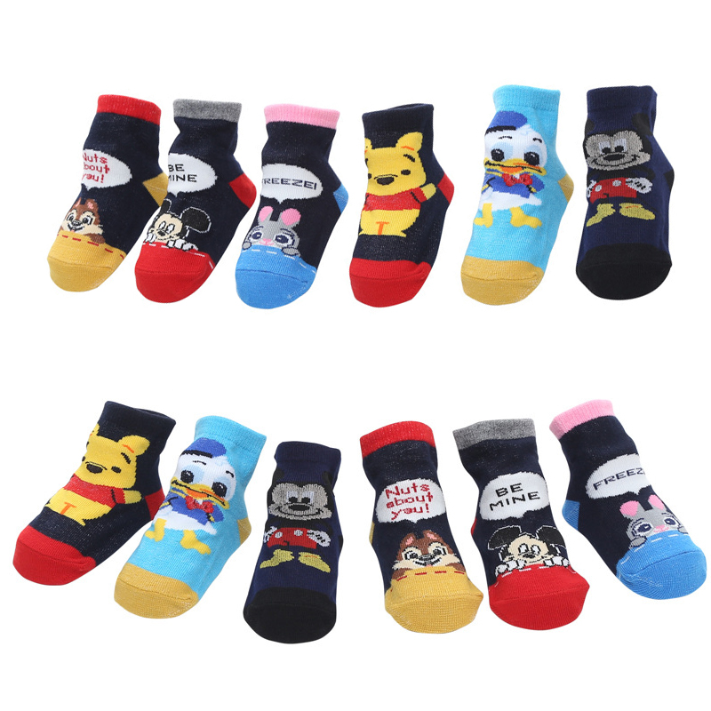 3pcs/bag Small Infant Mickey Winnie Donald Duck Socks Antiskid Socks Kids Baby Cartoon Pattern Antislip Socks 0-2y