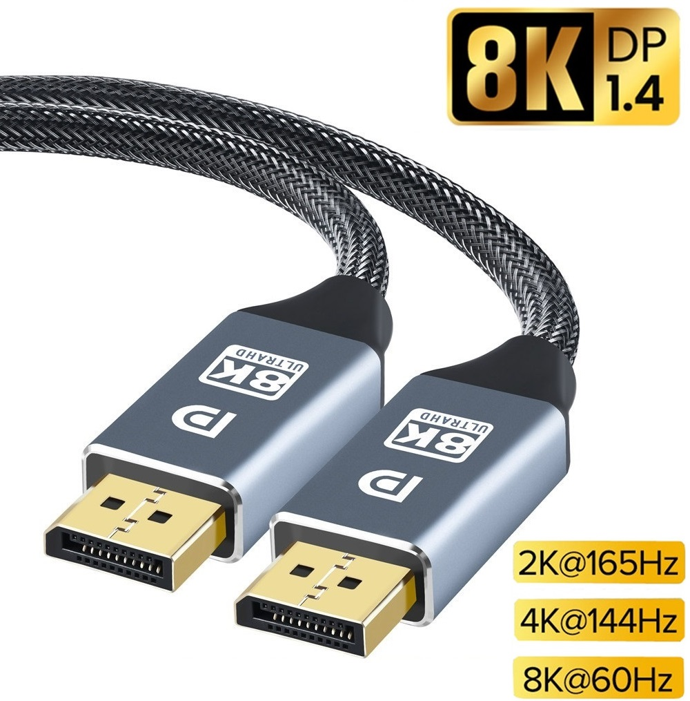 DisplayPort Cable DP 1.4 to DP Cable 8K 4K 144Hz 165Hz Display Port Adapter For Video PC Laptop TV DP 1.4 Display Port 1.2 Cable