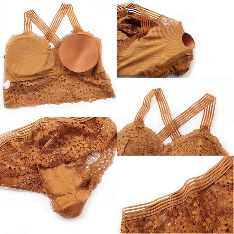 Thời Trang Cho Nữ Ren Dây Áo Ngực Áo Ống CH Bọc Người Phụ Nữ Quần Lót Chéo Làm Đẹp Lưng Xe Tăng Cao Cấp