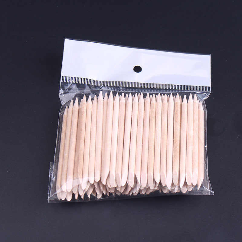 100 Pcsการออกแบบเล็บส้มไม้Cuticle Pusher Sticks Removerทำเล็บมือPedicure Care