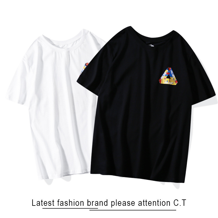 Summer New Products Europe And America Popular Brand Palace Triangular Graffiti Painted Men And Women Pure Cotton Short-sleeve P