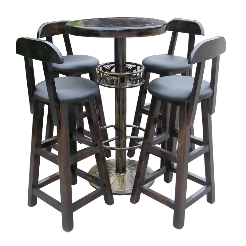 Solid Wood Bar Tables And Chairs Combination Coffee Shop Tea Shop Wrought Iron High Creative Personality Bar Table And Chairs