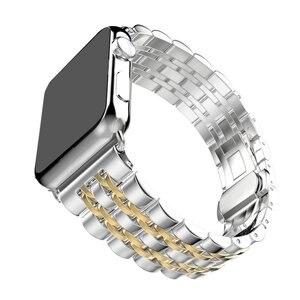 Image 4 - Zegarek ze stali nierdzewnej pasek na zegarek z jabłkiem 42mm 38mm 40mm 44mm metalowa bransoleta zapasowa do serii iWatch 6 SE 5 4 3 2 1