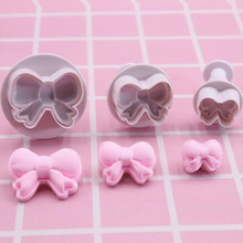 3pcs/set DIY Bow Knot Ties Bakeware Cookie Plunger Cutter Molds Embossed Stamp For Fondant Cake Biscuit Decorating Tool