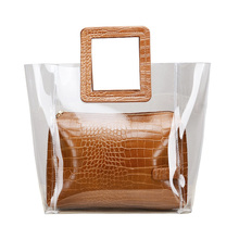 2PCS womens  transparent handbag PU crocodile pattern Messenger Bags Fashion polychromatic Composite bags square Handle