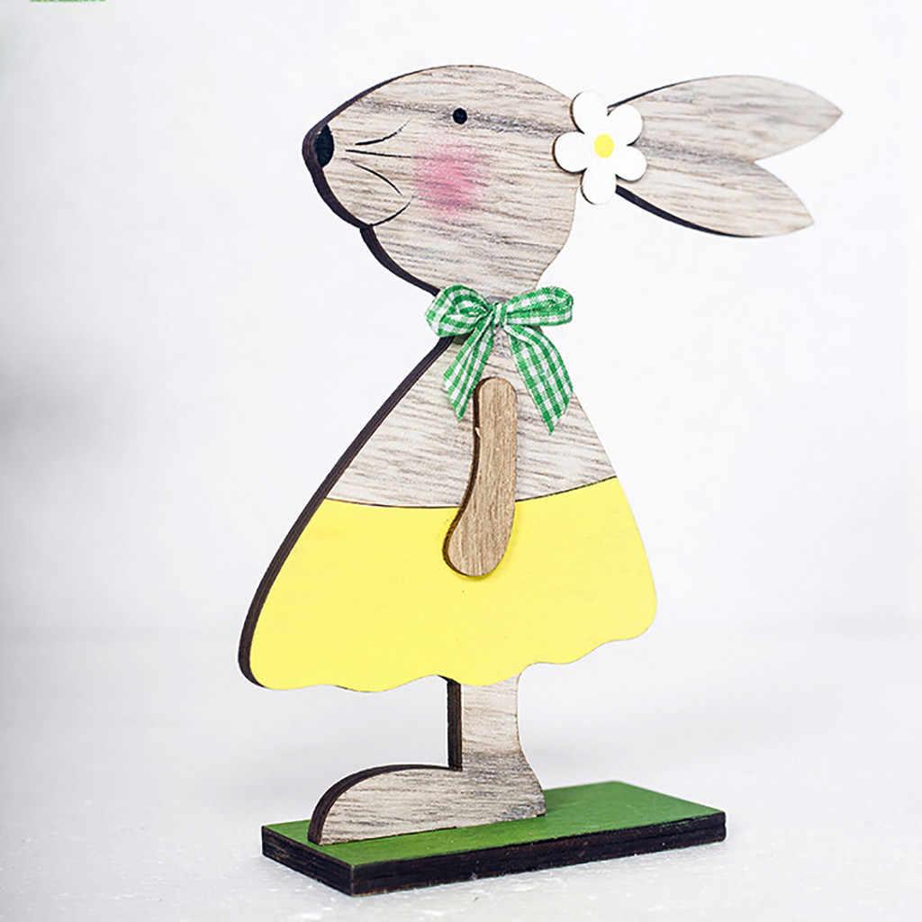 Decoraciones de Pascua formas de conejo de madera adornos regalos figuras hogar decorativo decorado colgante decoraciones de Pascua para el hogar