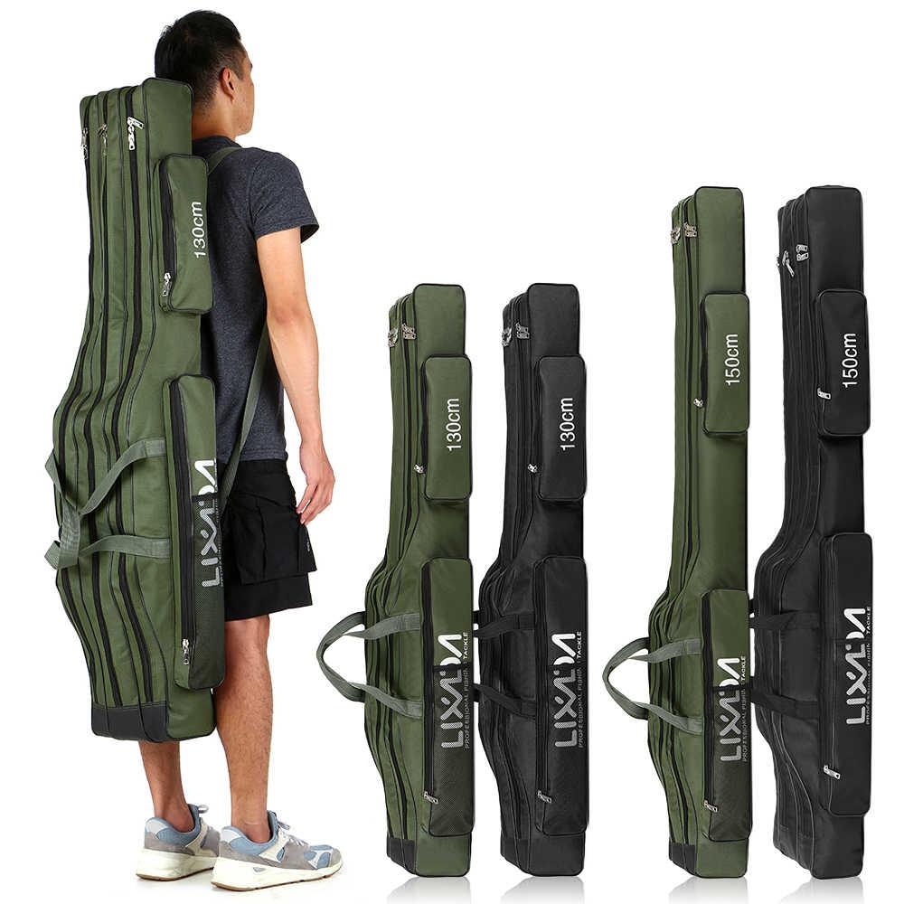 Lixada 130cm//150cm Portable Folding Fishing Bag Rod Reel Pole Gear Tackle Tool