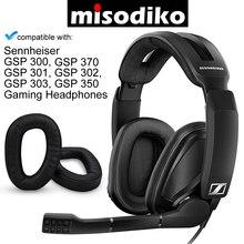 Misodiko 交換クッション耳パッド ゼンハイザー GSP 370 300 301 302 303 350 ゲームヘッドセット、修理耳あてイヤーパッド枕