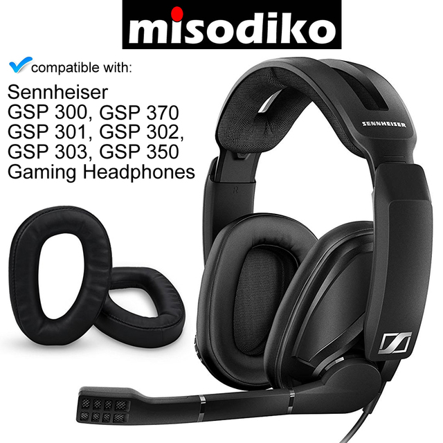 Misodiko poduszki wymienne wkładki do uszu dla Sennheiser GSP 370 300 301 302 303 350 gamingowy zestaw słuchawkowy, naprawa nauszników nauszniki poduszka