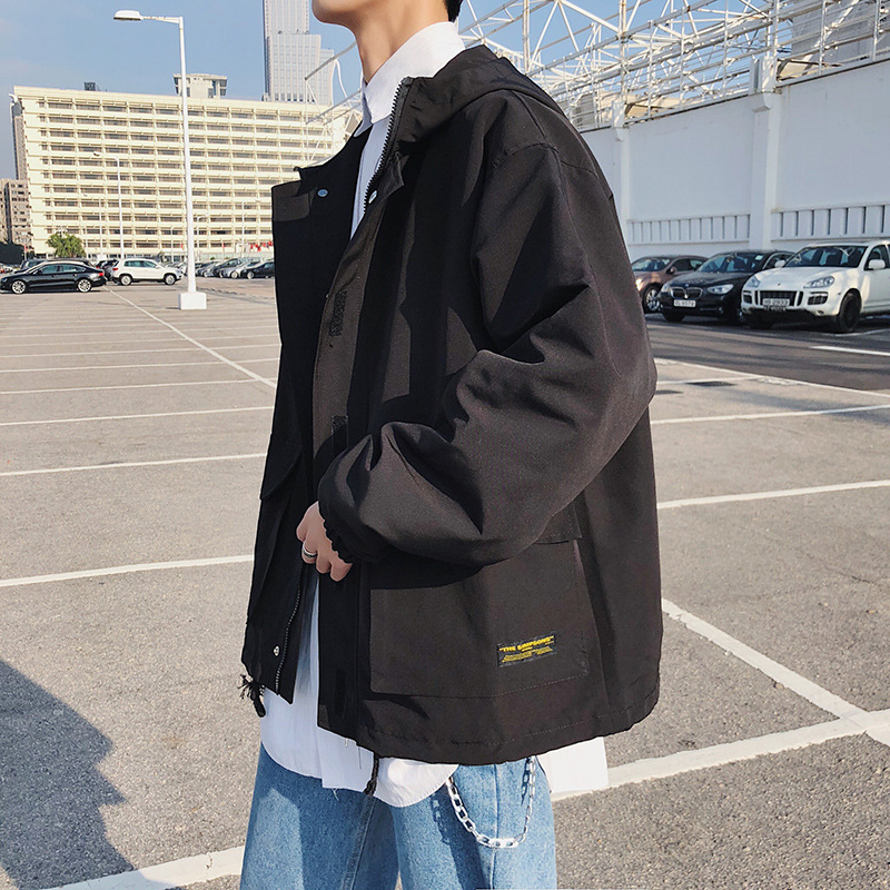 Trend Hooded Workwear MEN'S Jacket Spring Couples Loose-Fit Coat New Style Men Korean-style Large Size Students Jacket Men's